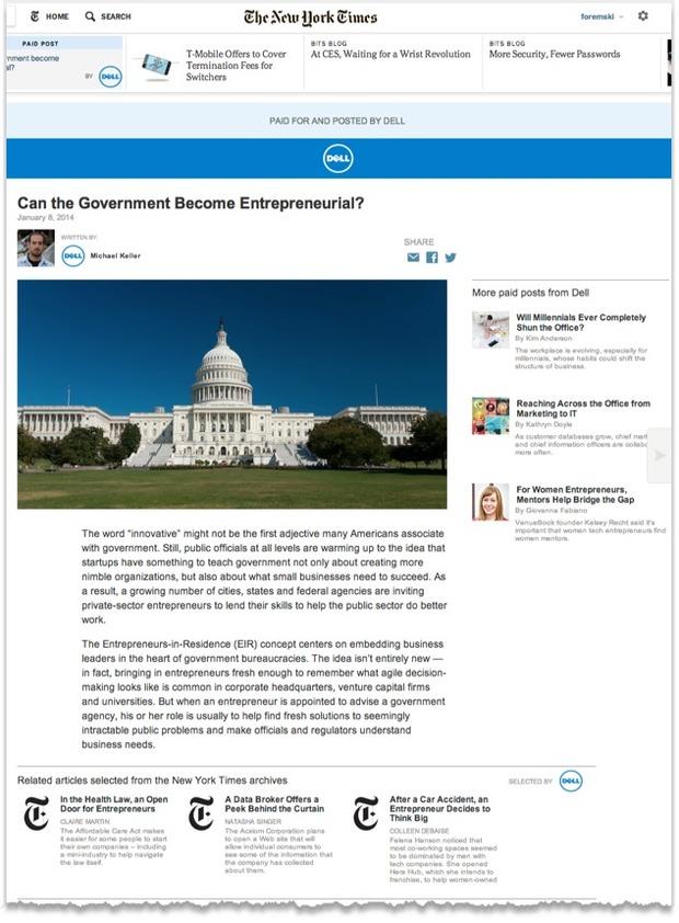 Ejemplo de publicidad nativa de Dell en The New York Times