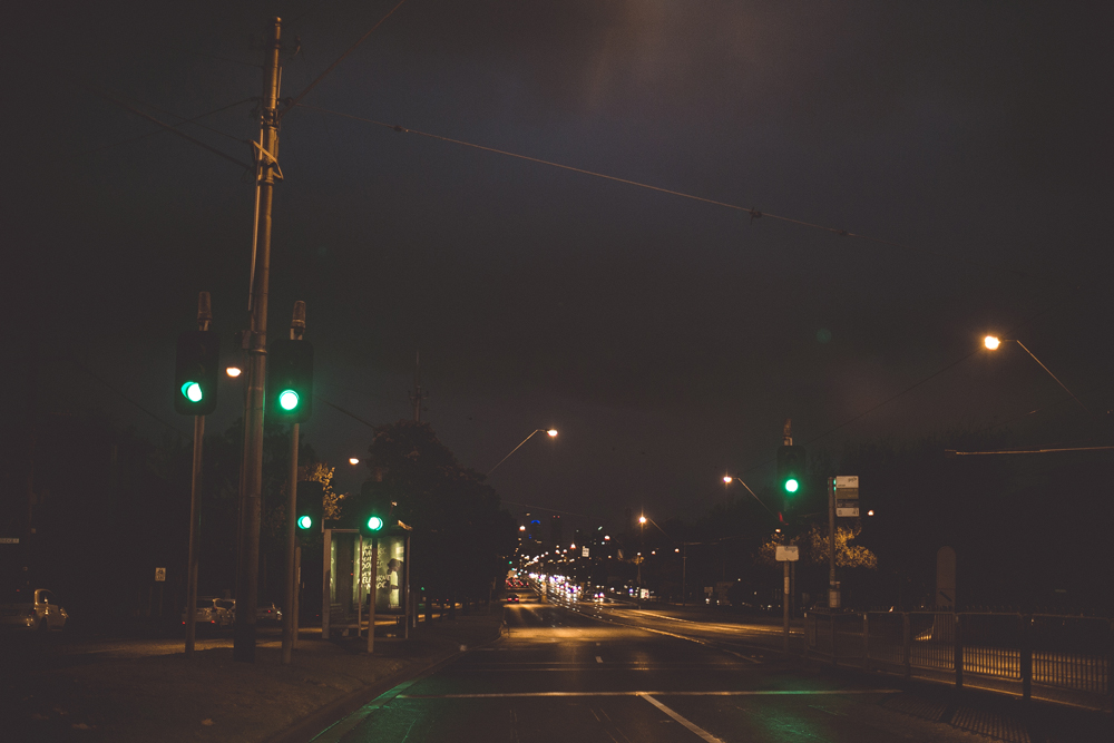 Late nights driving through Melbourne.
