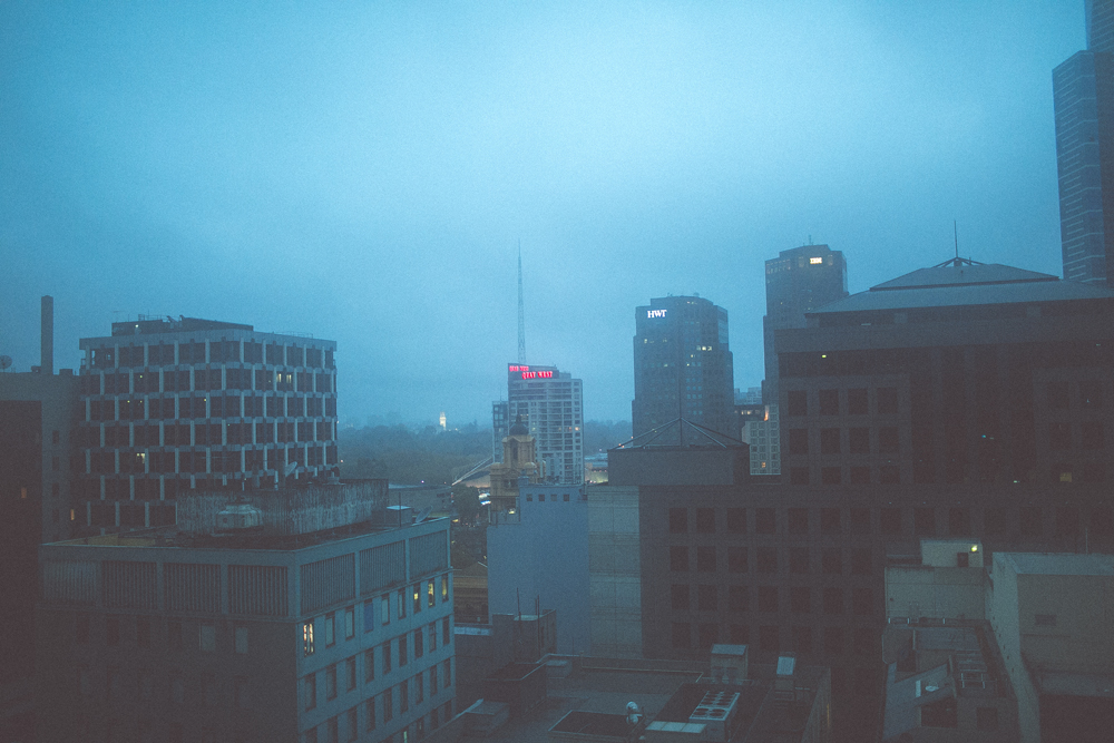 Early mornings. This was our view from our apartment balcony, the whole city covered in fog.