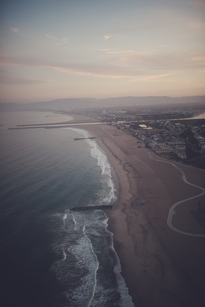 pastel skies over venice beach as we landed.