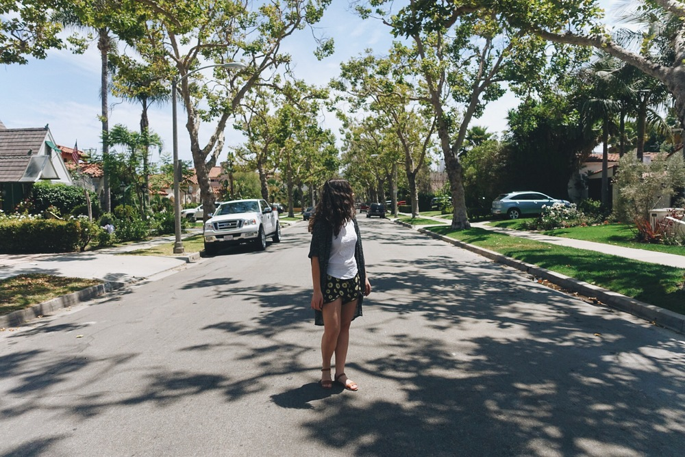 wandering the streets of beverly hills where the roads are paved through a tunnel of trees and there are picture perfect houses with picture perfect lawns.