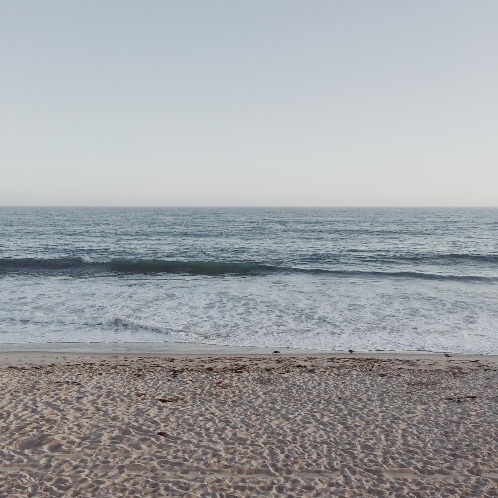 An empty beach in Malibu.