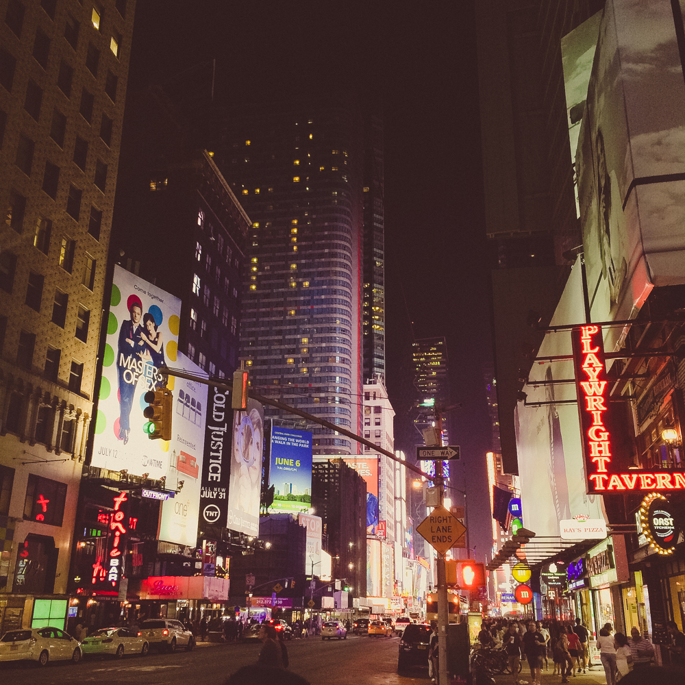 Times Square beaming in the night.