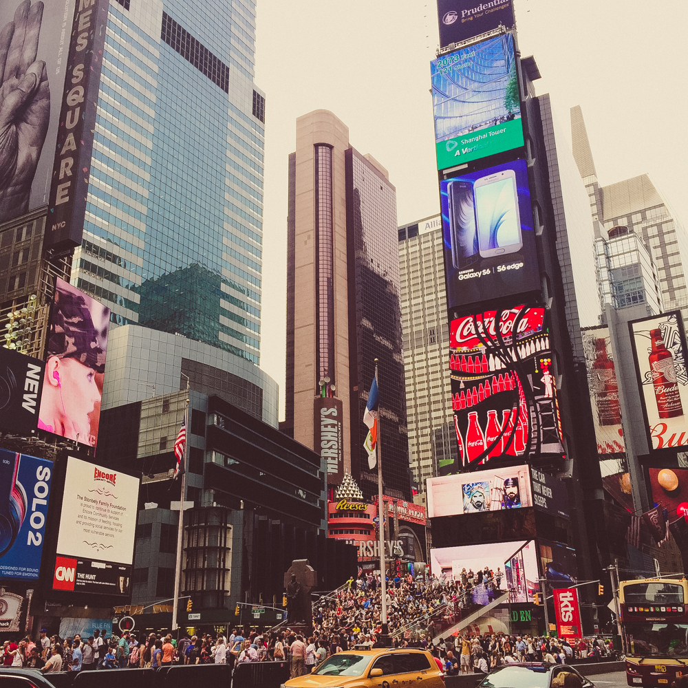 The ridiculously busy streets in Times Square.