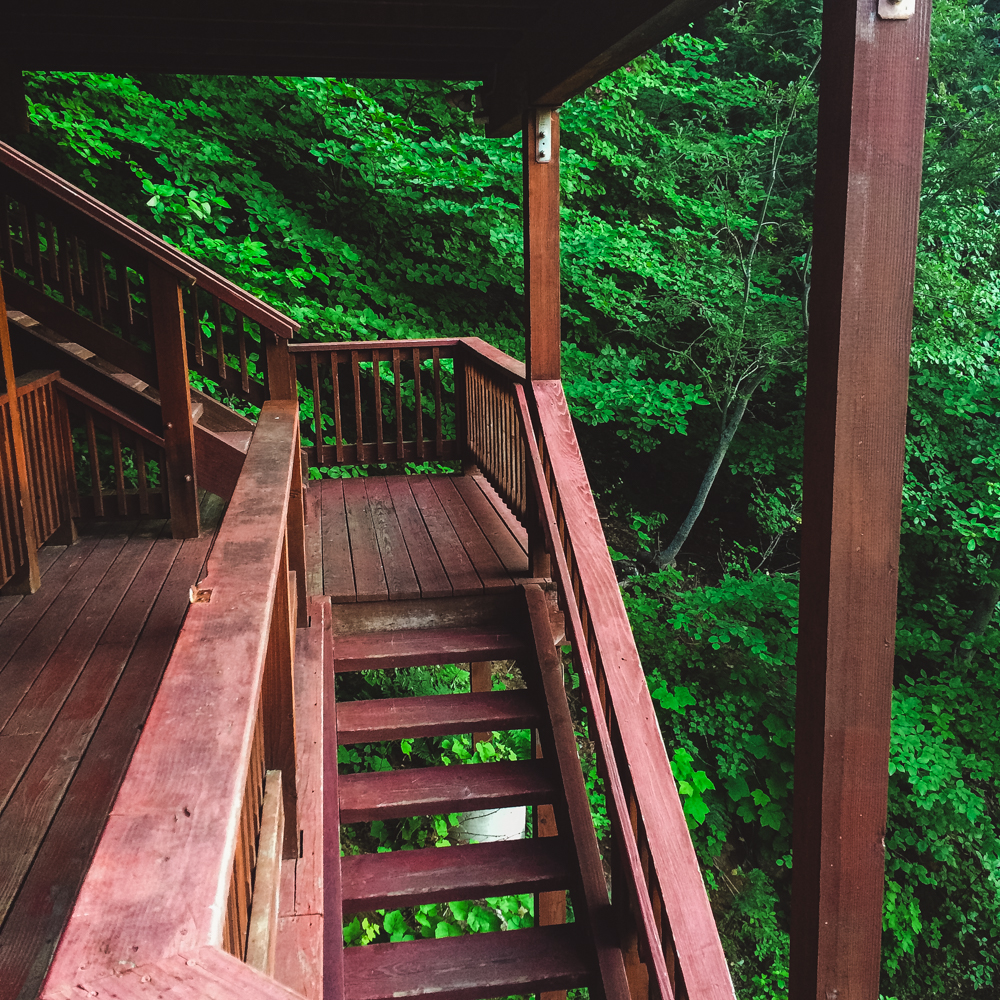 The stairs up to our cabin in the woods.