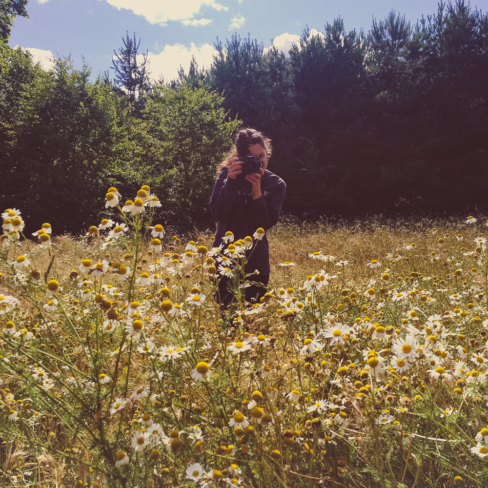 Shooting in wildflower fields.
