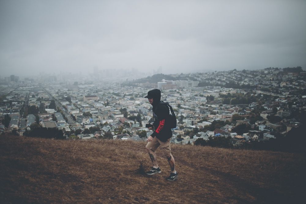 Walking to the top of Bernal Heights hill. When we got to the top we realised the entire city was swallowed in fog and I couldn't have been more excited!