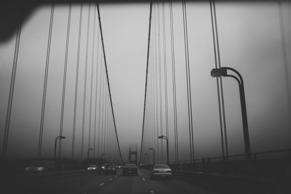 Driving over the Golden Gate Bridge.