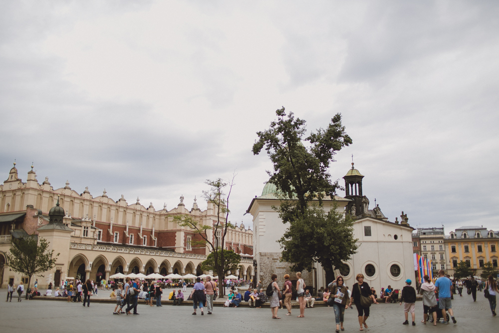 Exploring the Main Square in Krakow.