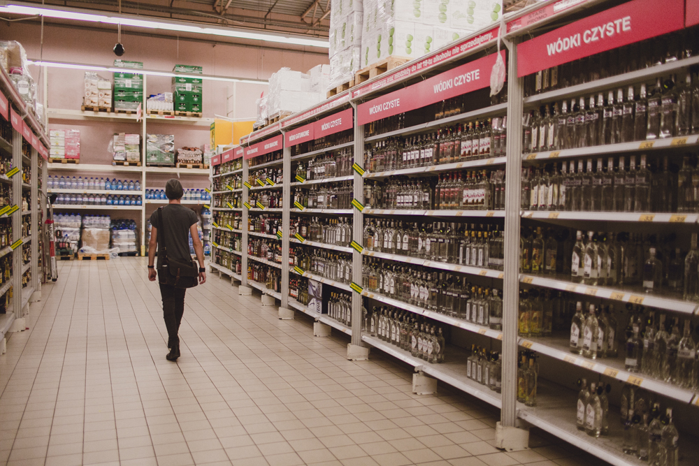 A whole isle in the supermarket filled with vodka. We definitely don't have this much variety and quantity in Australia!