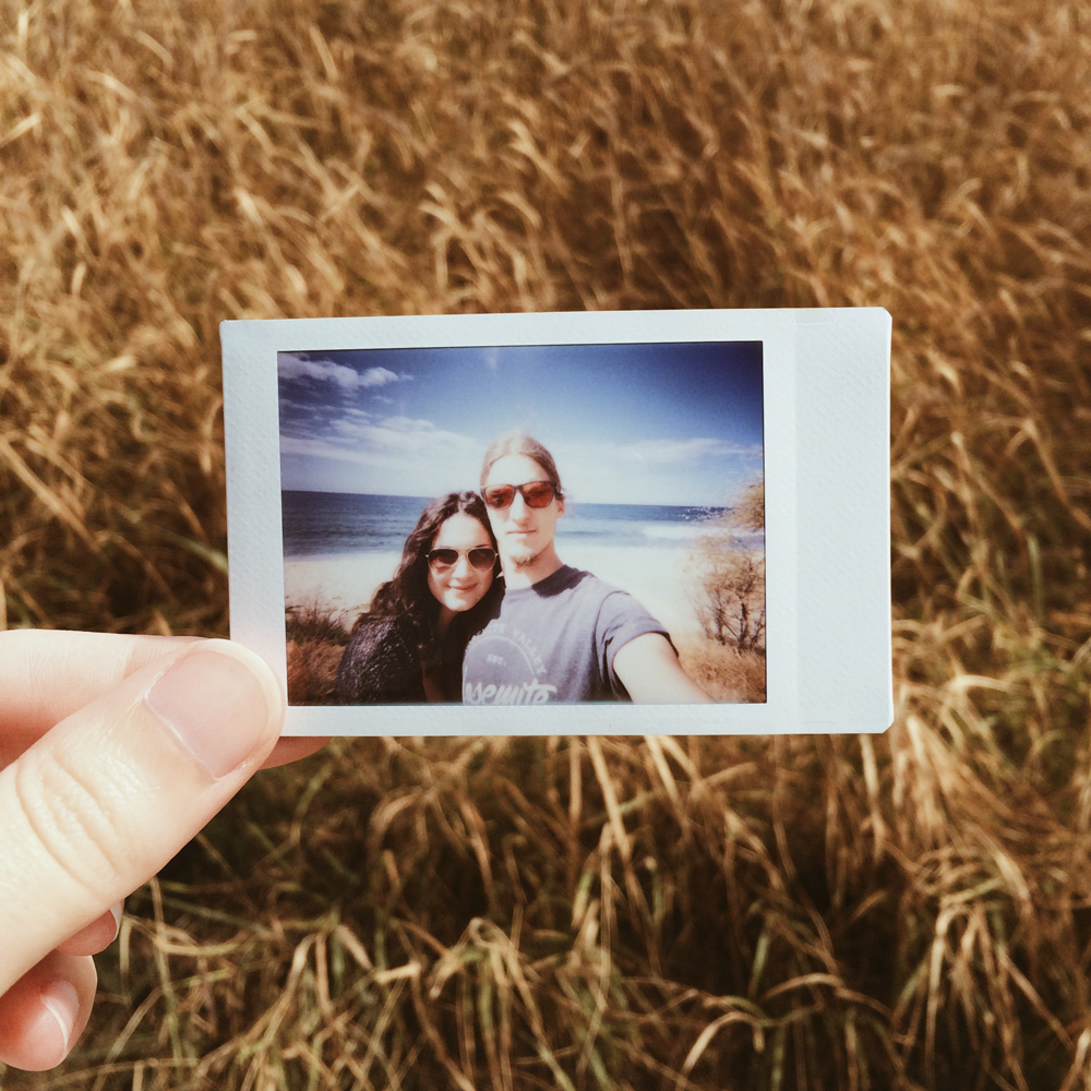 We stopped off on the side of the road at a beautiful beach we drove past and took a polaroid.