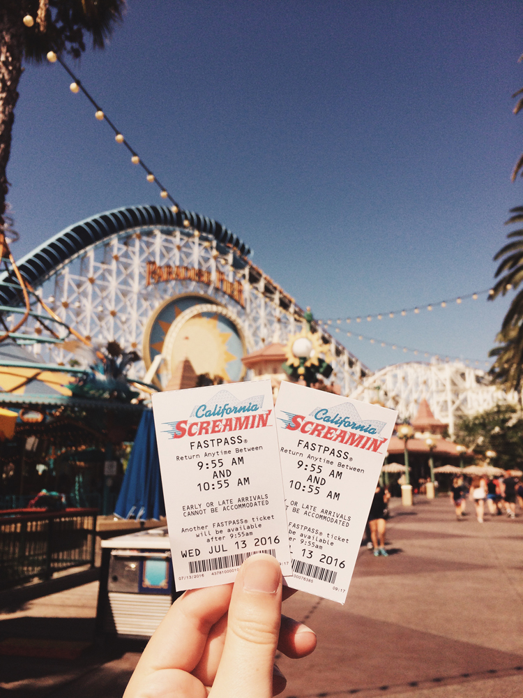 Using fast passes for the California Screamin roller coaster.