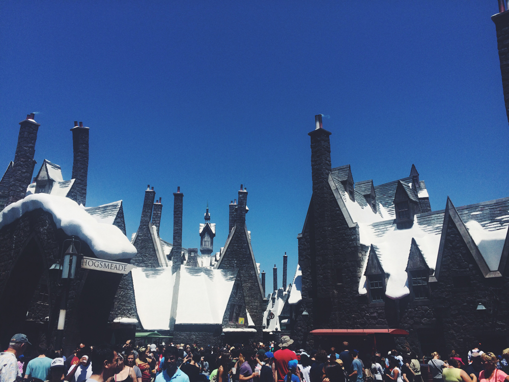Harry Potter world in Universal Studios. We had early access to this world and were able to go on all the rides without waiting in line at all! This photo was taken later in the day when the walkway became a sea of people.