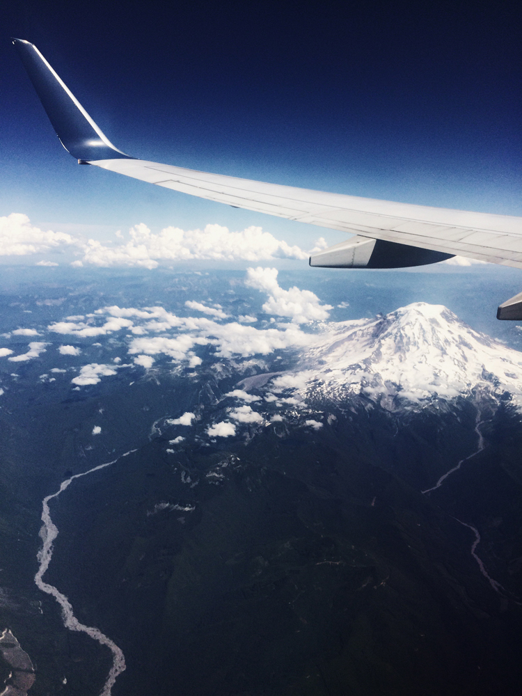 The view of Mt Rainier from the plane as we were flying from Seattle to Los Angeles.