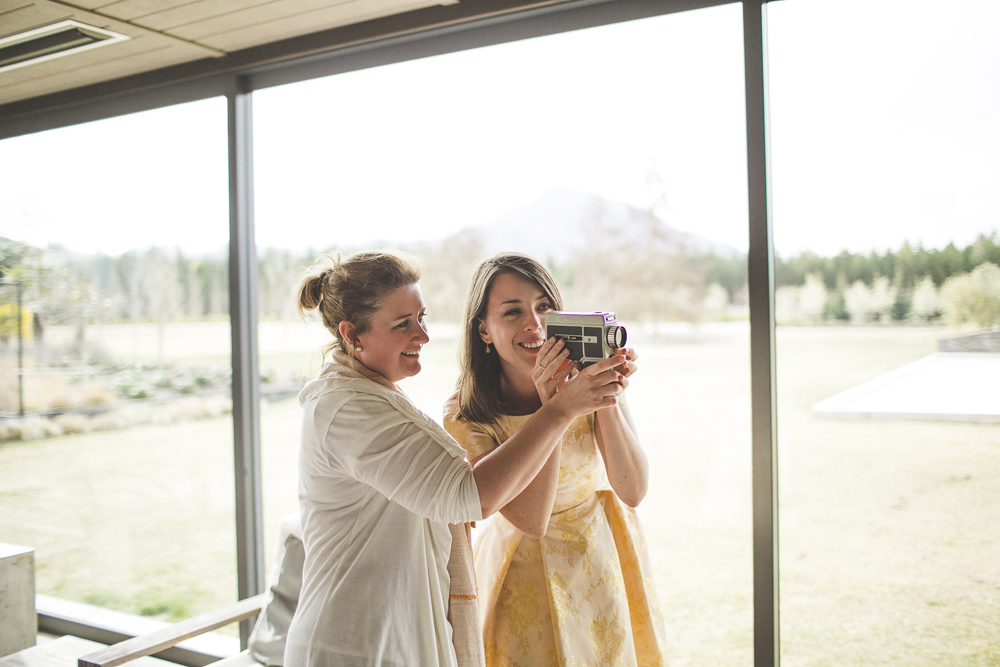 Yvette and Kelsey filming on the Super 8 camera.