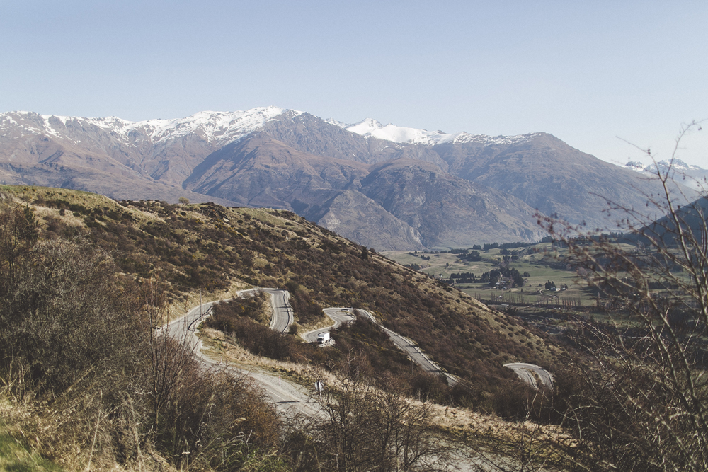 The winding road from Wanaka to Queenstown.
