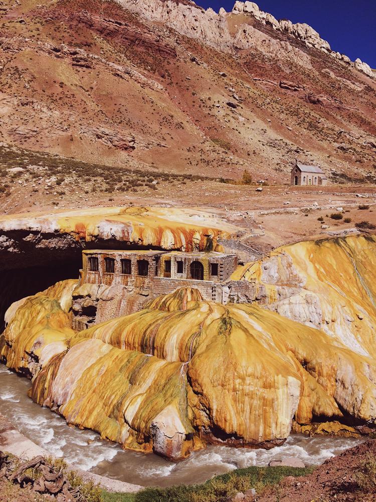 """El Puente de los Incas """"The Incan Bridge"""" in the Andes of Mendoza."""