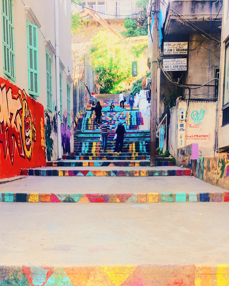 Colourful stairs in the middle of Beirut.