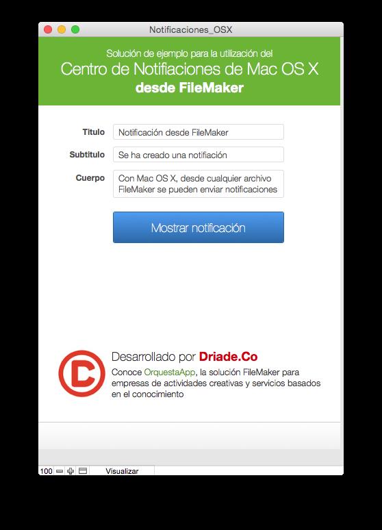 Interfaz de la solución demo para utilizar notificaciones nativas del sistema