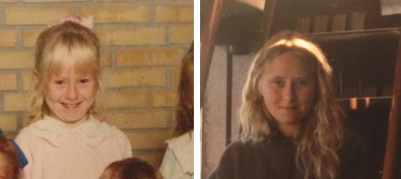 Et billed fra bhk. og et fra sommeren efter 9. klasse