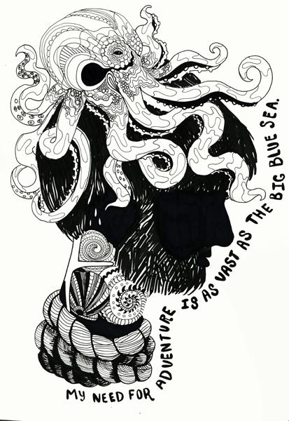 """""""Sailor Man"""" Ink Drawing, 8.5x11, 2013"""