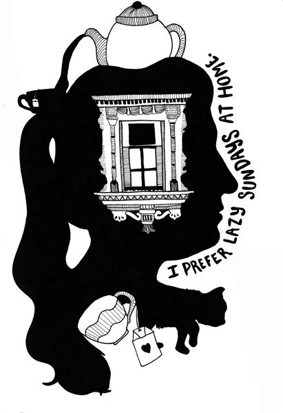 """Tea Drinker"" Ink Drawing, 8.5x11, 2013"