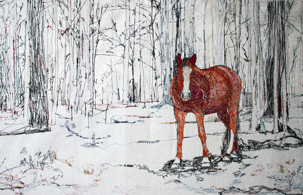 Sugar Bush Blue,  Machine Embroidery, 28x43in. 2016