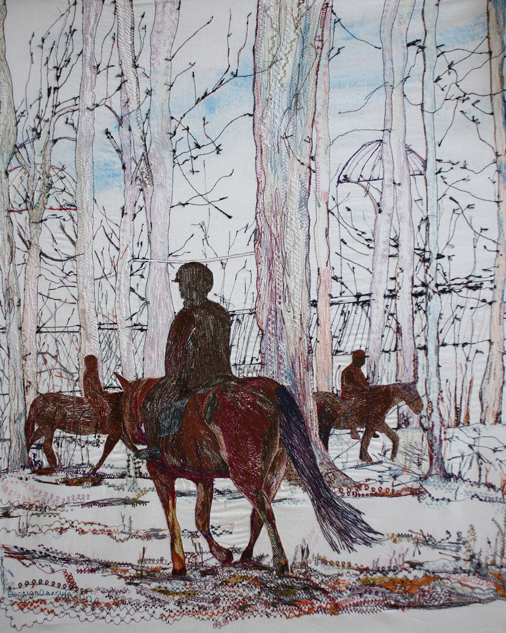 Sugar Bush III, Machine Embroidery, 29.5 x 34 in., 2016