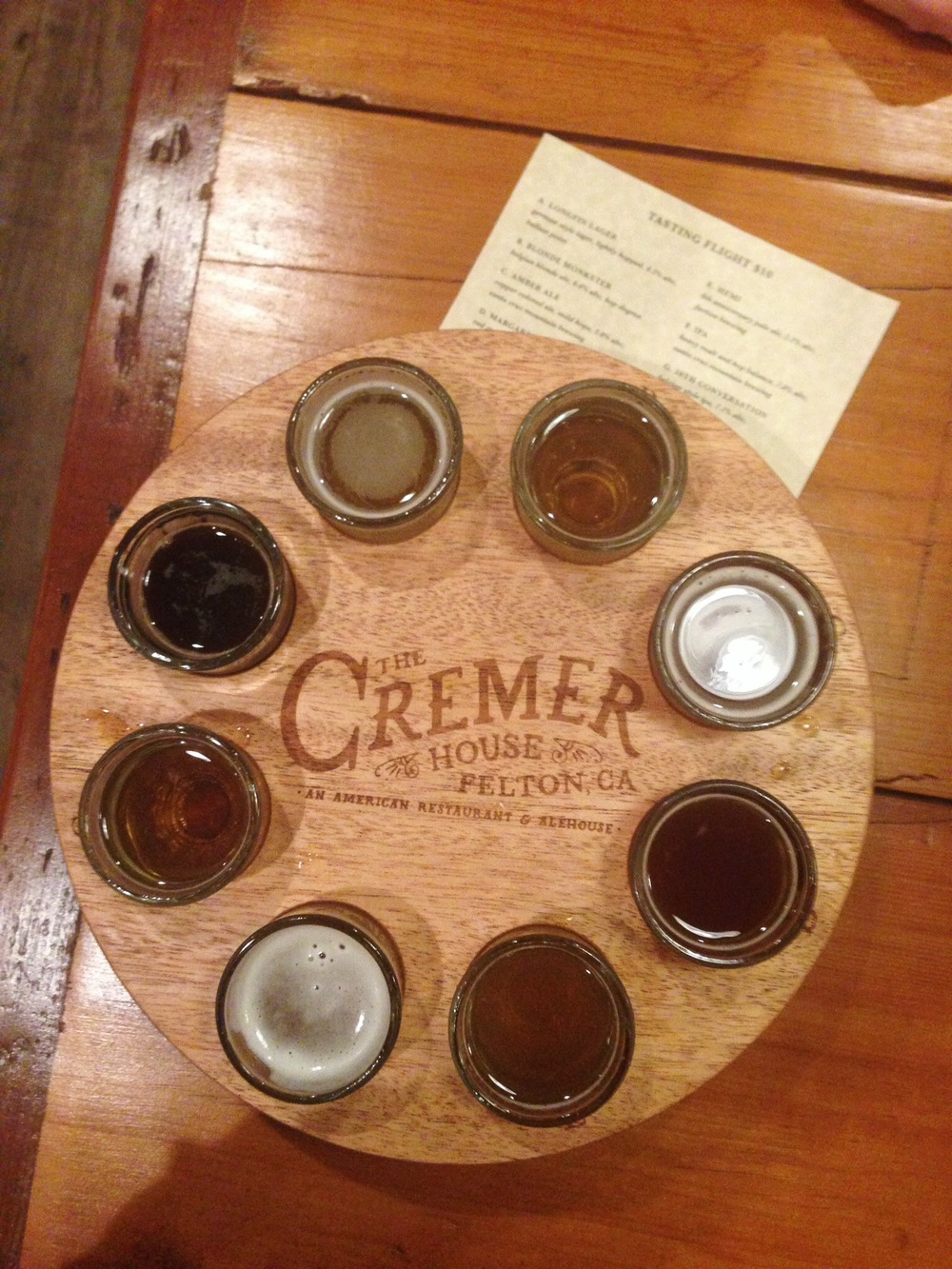 Cremer House tasting flight