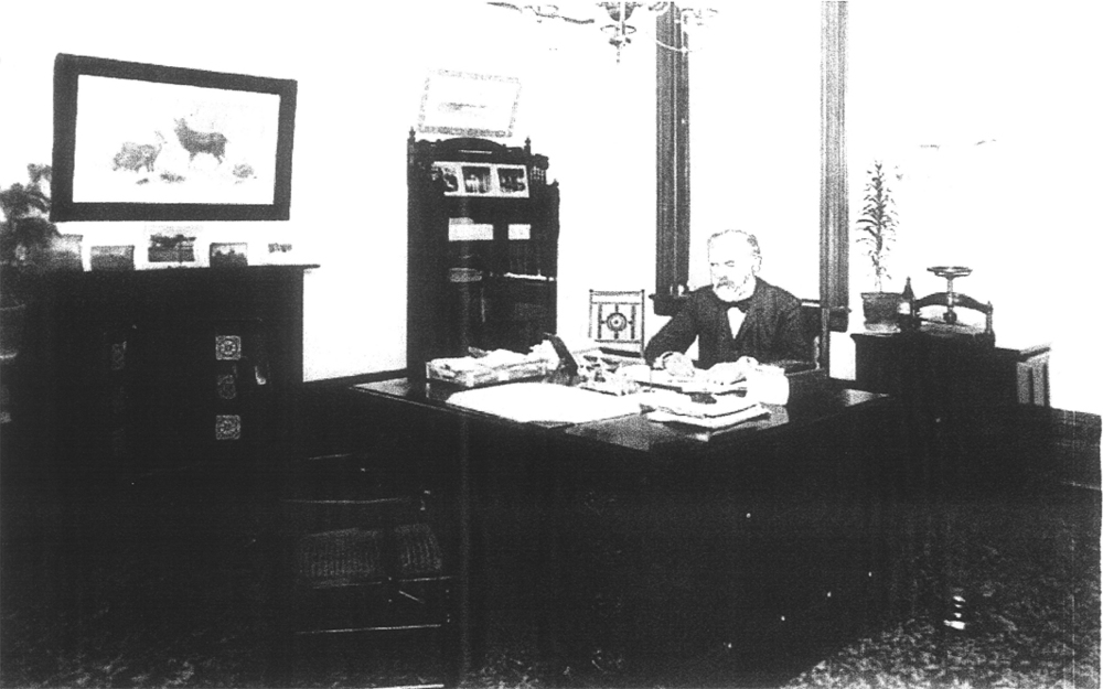 Dr Alexander Beaton, first superintendent of the Orillia Asylum at his desk in his office in the Administrative Building c. early 1900s.  Photo courtesy of CAMH Archives.