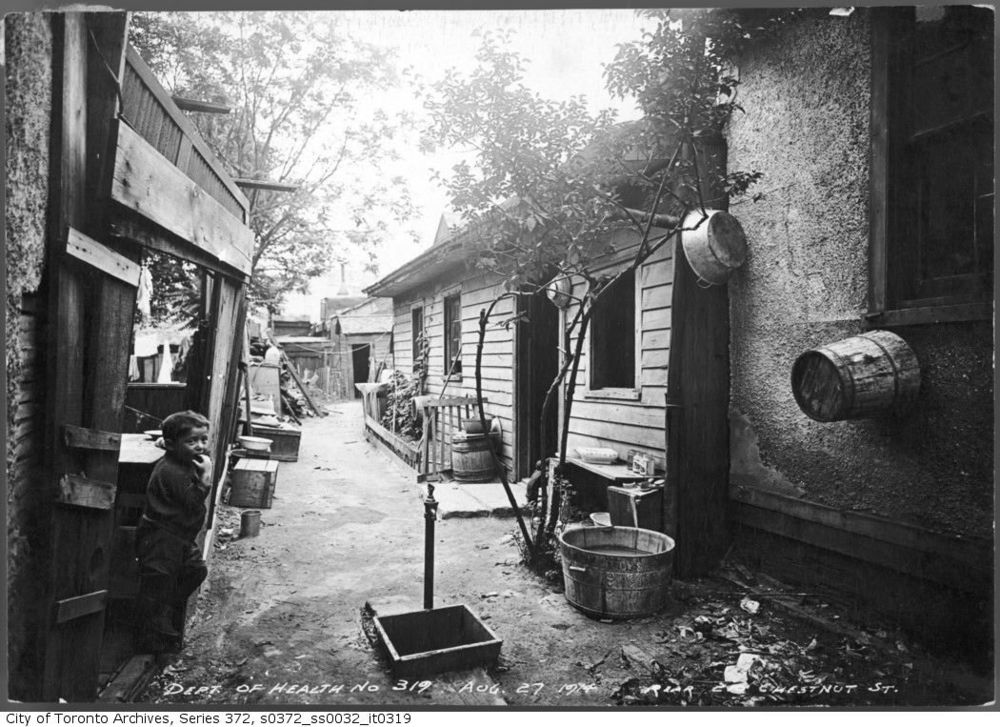 Rear of  Chestnut Street, The Ward, Toronto. Courtesy Toronto Archives.