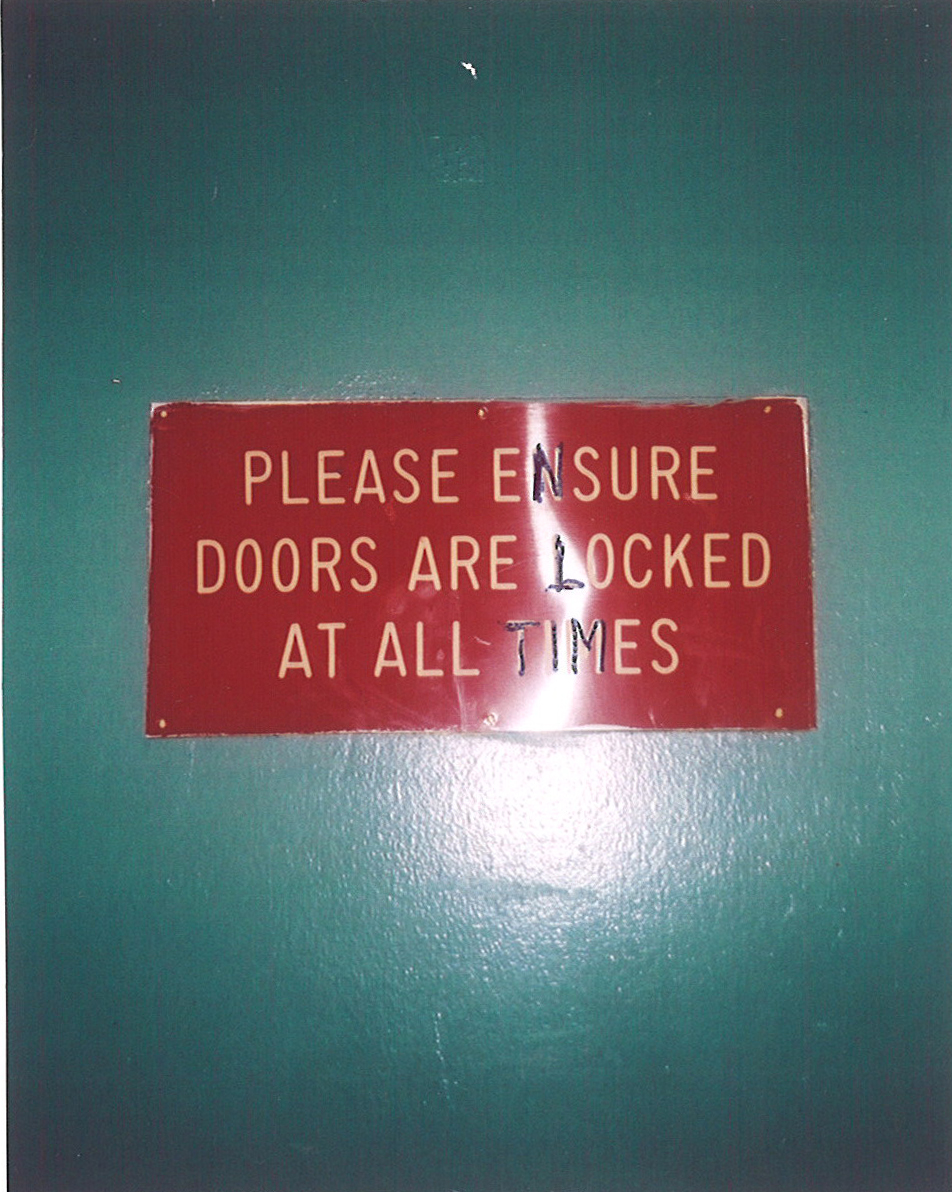 Door sign. Photo: Thelma Whealtey.