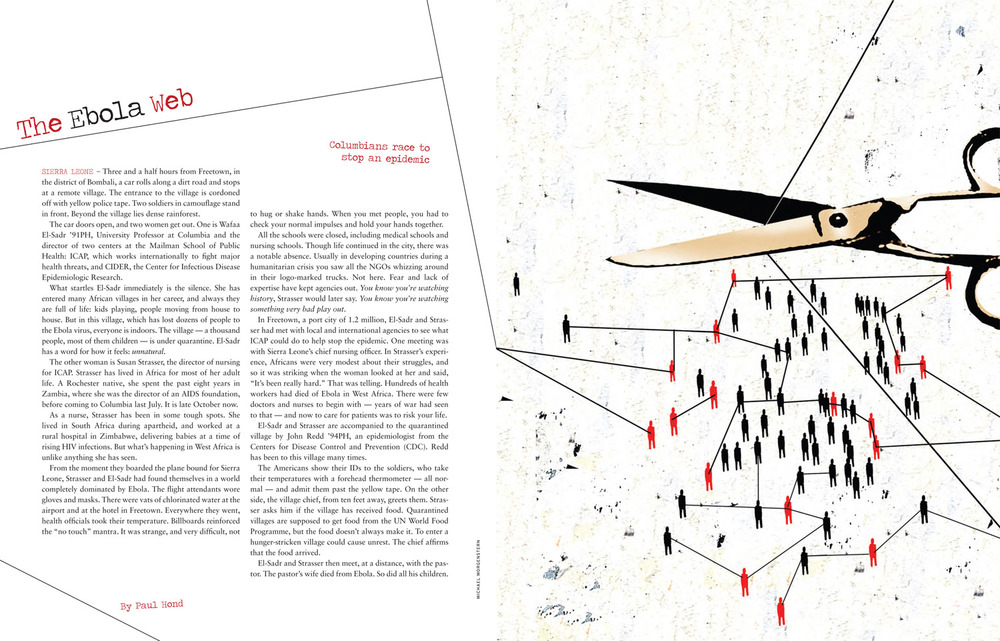 For Columbia University magazine, about progress in tracing the contacts of people who are carriers of ebola, in order to win the battle against the disease.