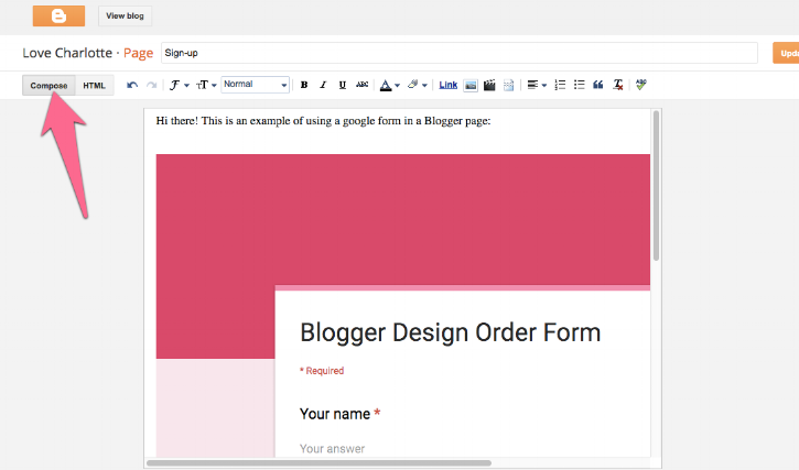 How to embed a google form on a Blogger page