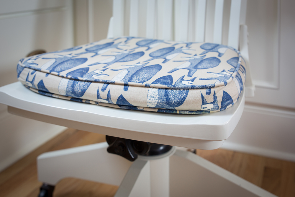 It is a small detail, but this desk chair cushion in the guest bedroom makes us smile overtime we see it.