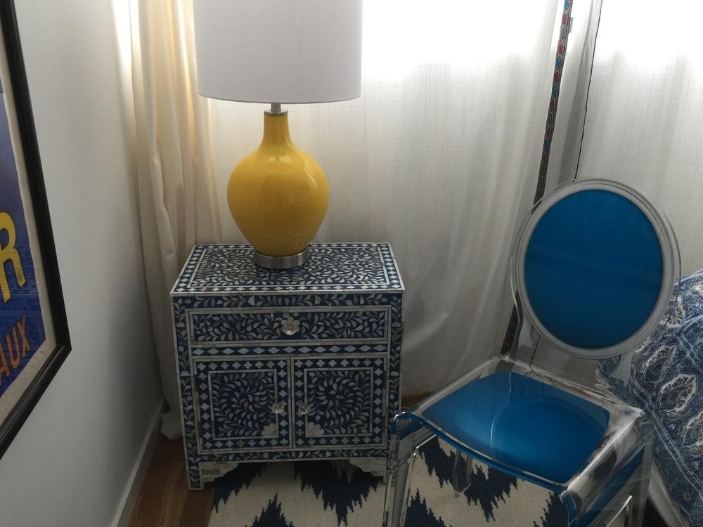 Maison 21 Lucite Chair, MOP Small Dresser