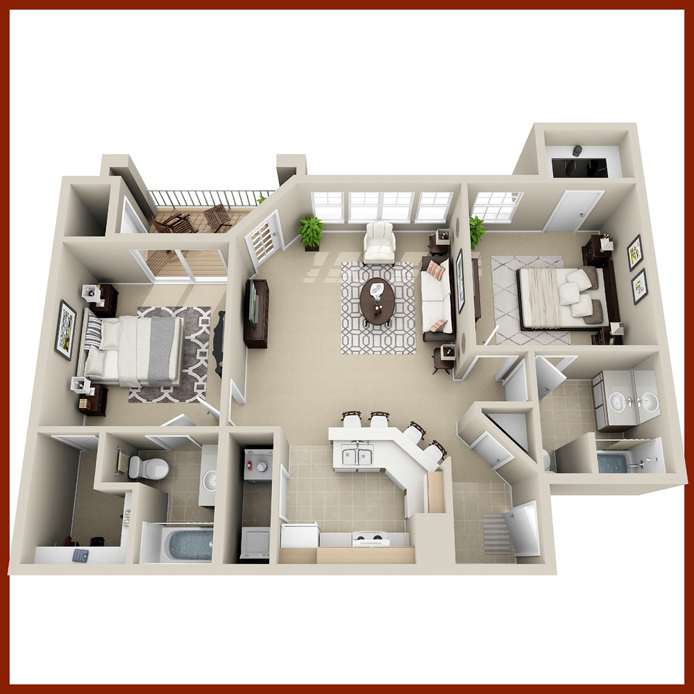 THE ROSEWOOD - Two Bedrooms & Two Baths | 1,011 sq. ft.