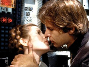 Han Solo and Princess Leia kissing. Yummy.