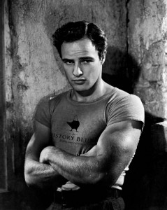 Marlon Brando, looking dirty and brooding and oh so roguish in a publicity still from A Streetcar Named Desire