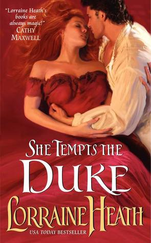 The cover of She Tempts the Duke. The heroine is wearing a gorgeous scarlet dress, and the hero is wrapped around her. Yum!