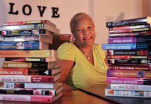 Brenda Jackson with some of her 100 romance novels.