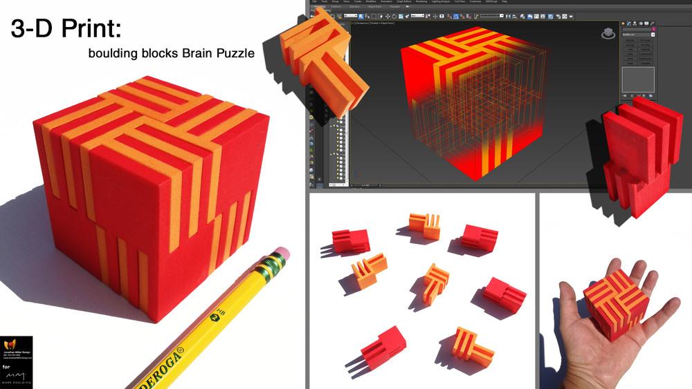 3-D print of 3-D Model Brain Puzzle Composite.