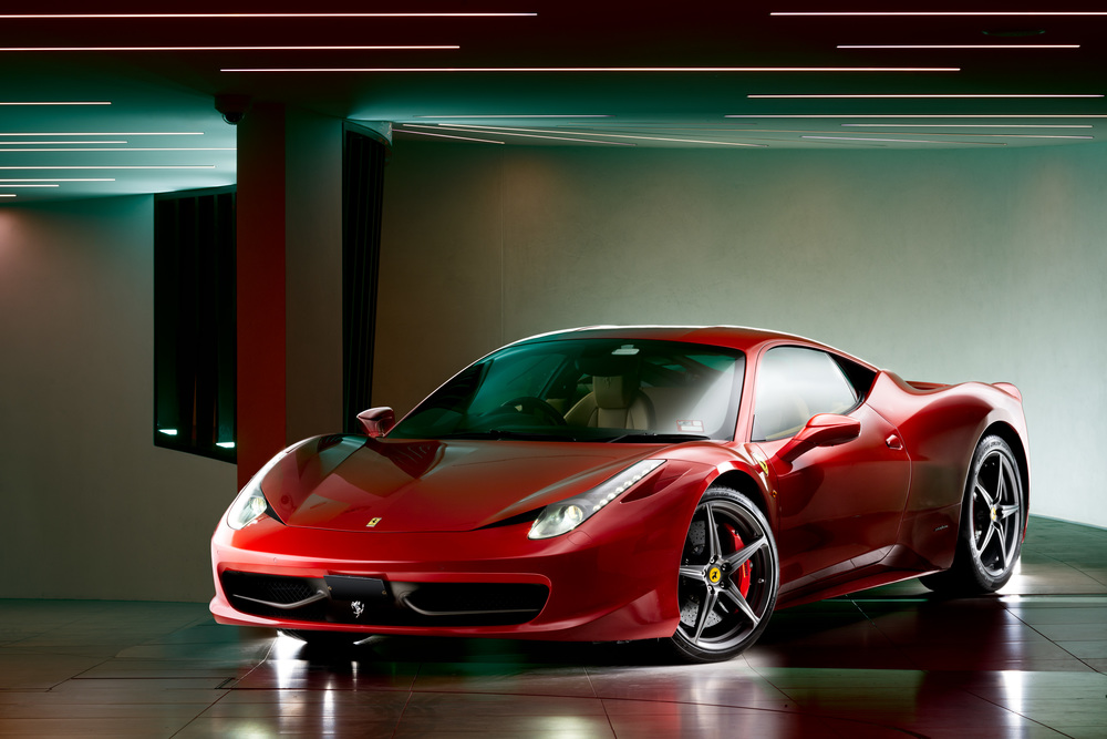 Light Painting - Ferrari 458 red