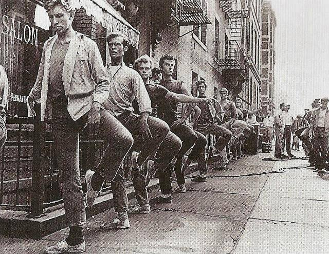The cast of West Side Story between takes, 1961