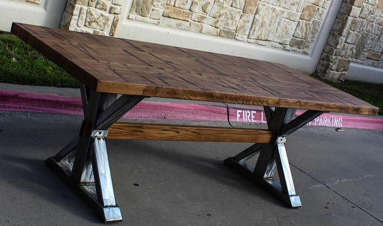 Fire Lane steel trestle base with wood top table