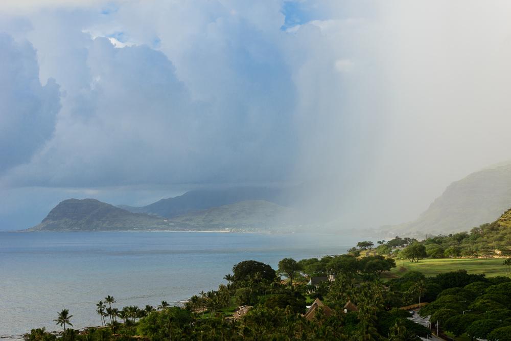 Rain comes to Ko Olina, Hawaii