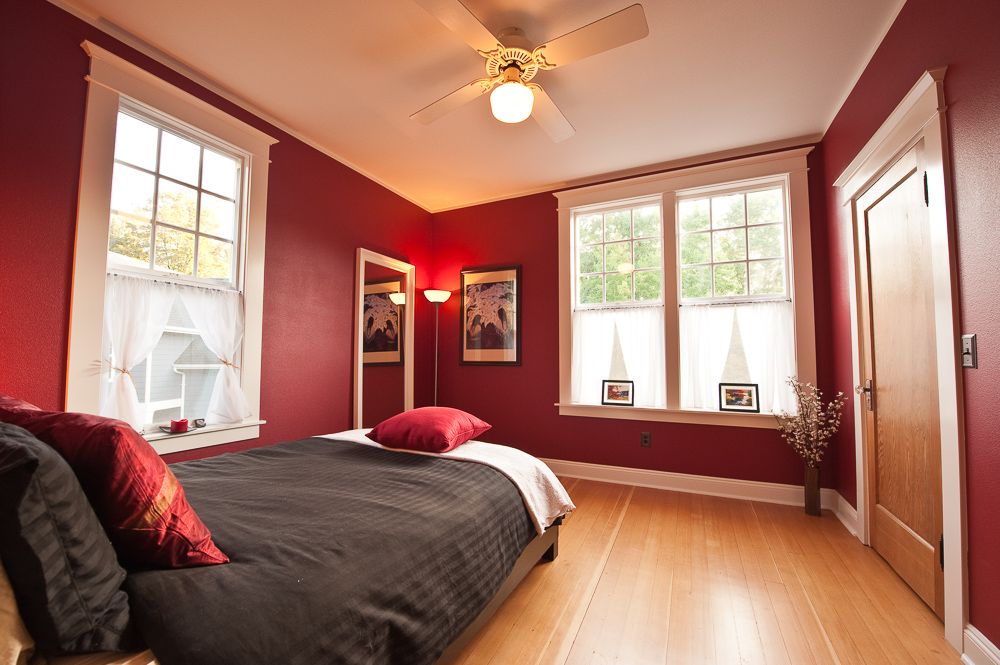 A remodeled guest room.
