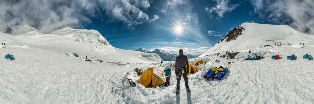 380-Degree, Multi-frame Panoramic Merger at 11,000' on Denali (Nikon D800)