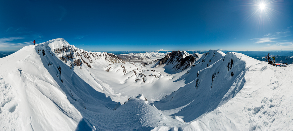 Nikon D800 multi-frame panoramic merger from Mount Saint Helens' crater rim.