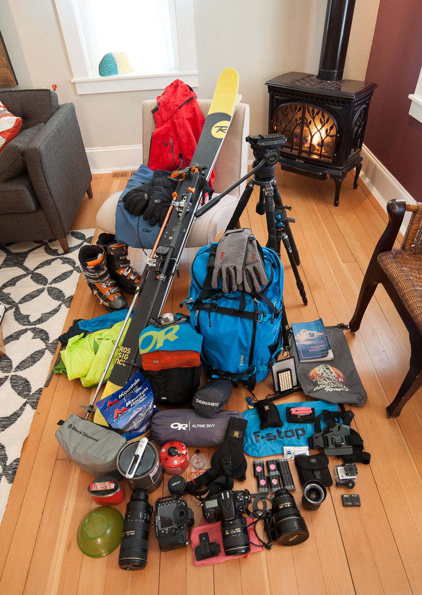Gear for a multi-day ski touring adventure. Click to see bigger.